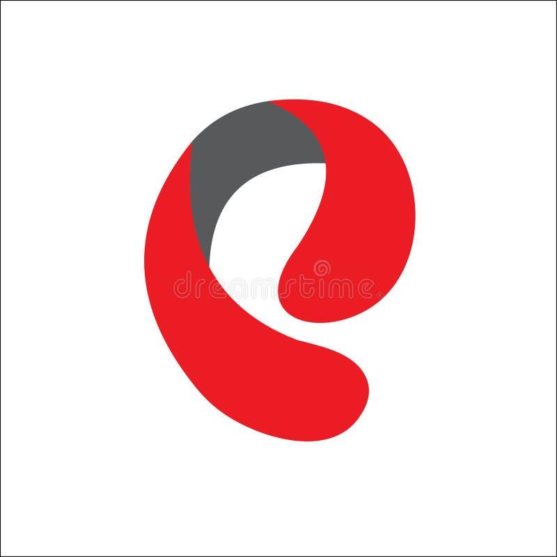 E помечает буквами шаблон красного цвета вектора логотипов иллюстрация вектора