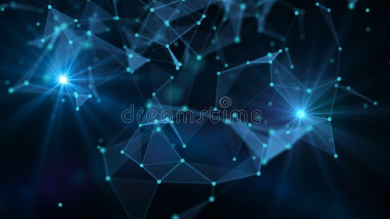 E Сетевые подключения с пунктами и линиями Wireframe сети провода техника Ai футуристическое бесплатная иллюстрация