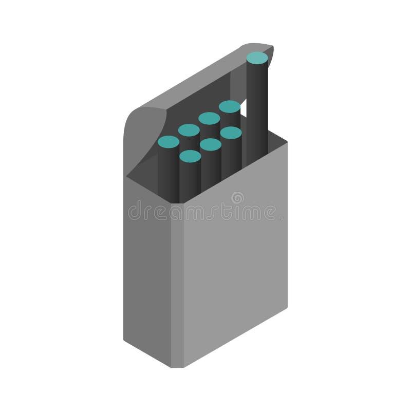 E-сигареты с значком коробки, равновеликим стилем 3d иллюстрация вектора