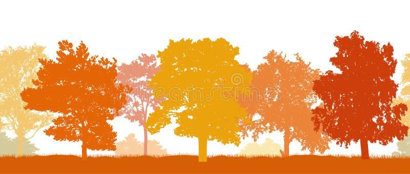 E Силуэты различных деревьев в осени r иллюстрация штока