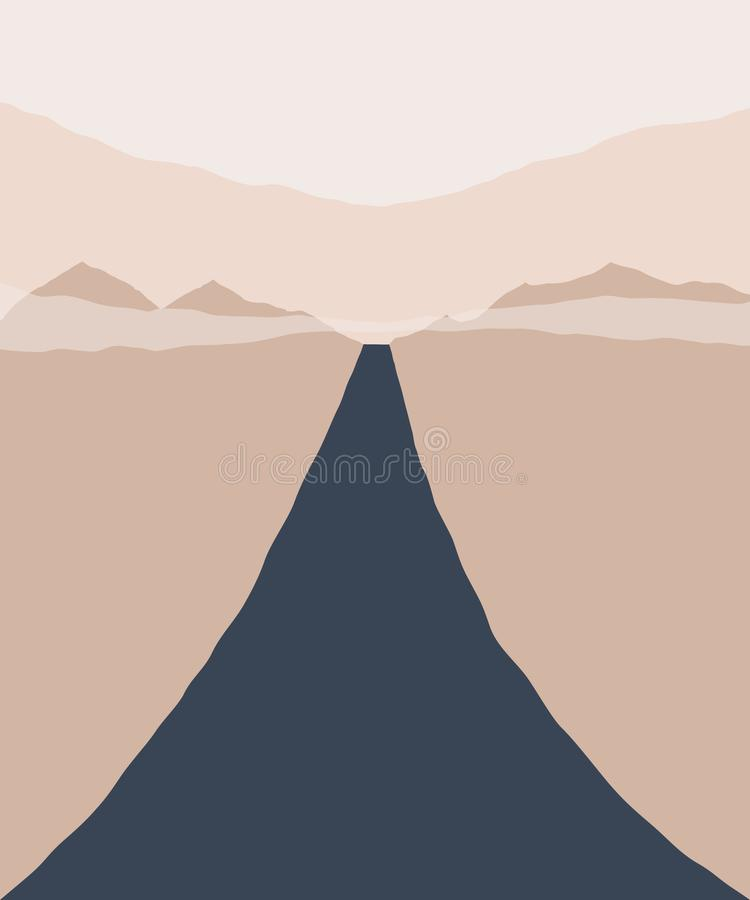 E Силуэт состава гор, неба и дороги геометрического r бесплатная иллюстрация