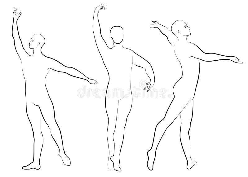E Силуэт тонкого парня, мужской артист балета Художник имеет красивую тонкую диаграмму, сильное тело Человек танцует иллюстрация штока