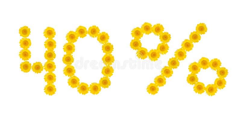 E Скидка 40 процентов, белая изолированная предпосылка Символы желтых цветков hrezentemy Знамя, летчик, приглашение, стоковое изображение
