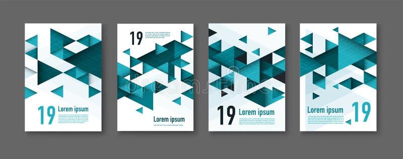 E собрание шаблонов дизайна брошюры с красочное геометрическое триангулярным стоковые изображения