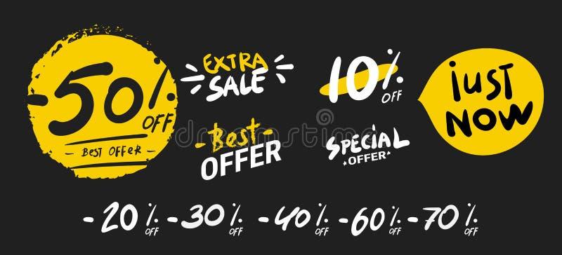 E Супер мега скидки Значки бирки стрелки продажи Предложение скидки особенное знаки продажи 50, 60, 70 и 80 процентов Черный бесплатная иллюстрация