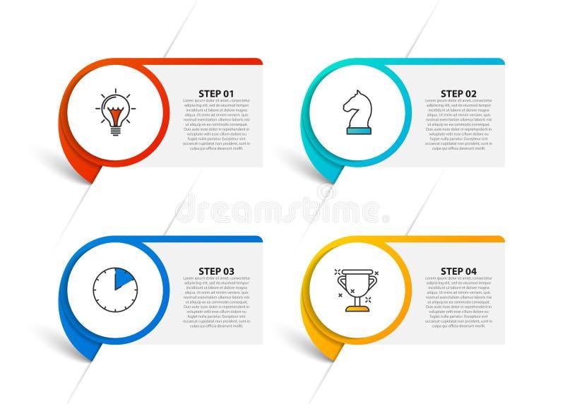E Творческая концепция с 4 шагами иллюстрация вектора