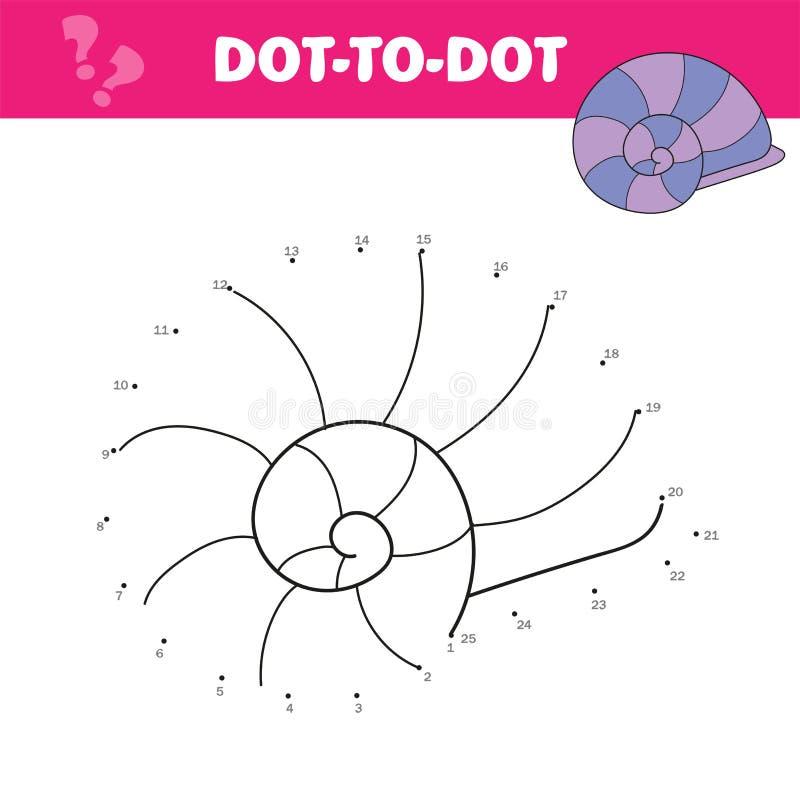 E Точка для того чтобы поставить точки игра для детей Раковина мультфильма иллюстрация вектора