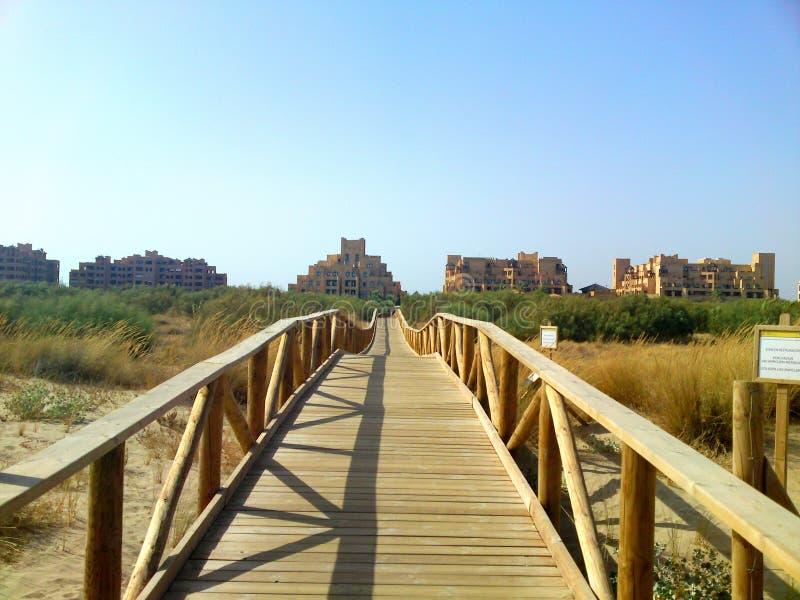 E Тротуар к пляжу Деревянный footbridge водя к пляжу стоковые изображения rf