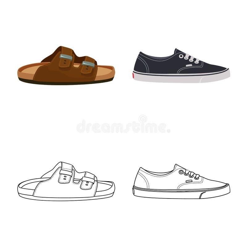 E Установите значка вектора ботинка и ноги для запаса иллюстрация штока