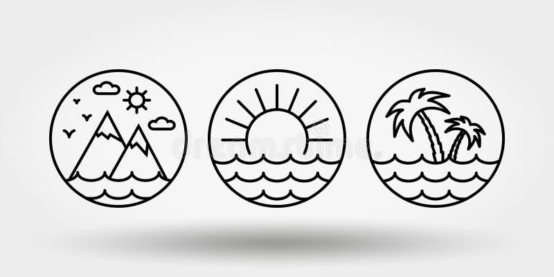 E Установите значков, логотипов иллюстрация штока