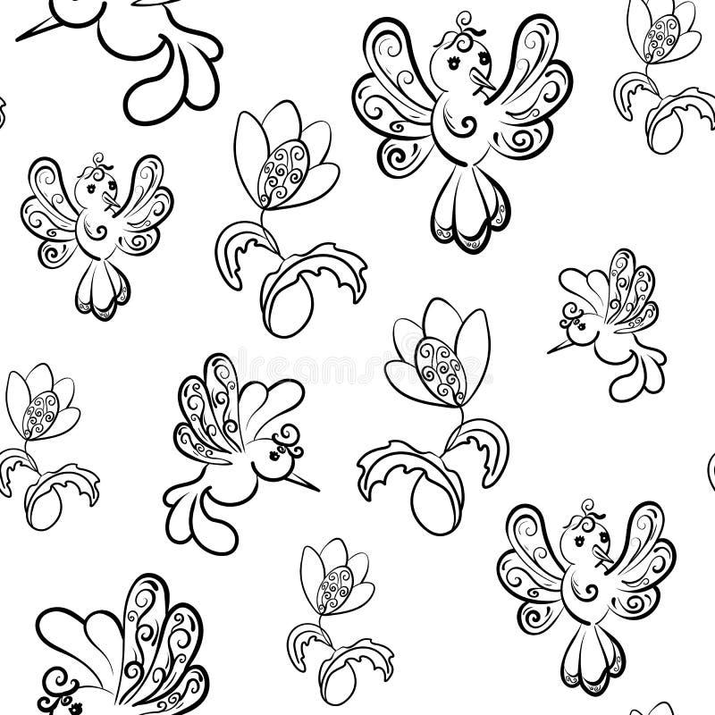 E Фантастические цветки и птицы бесплатная иллюстрация