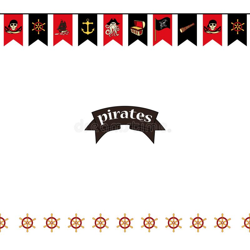 E Флаги на символ-шпагах темы пирата, сундуке с сокровищами, черепе и косточках, Davy Джонсе, etc иллюстрация вектора