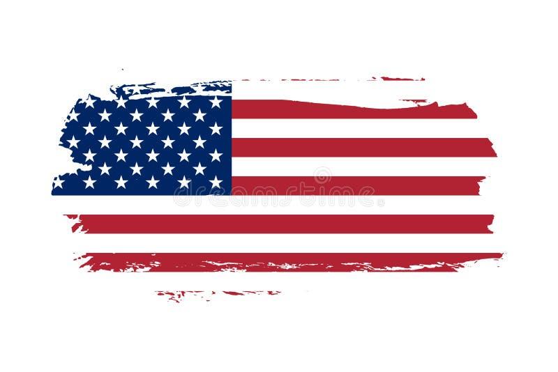E Флаг США Grunge старый изолировал белую предпосылку Огорченная ретро текстура Винтажный grungy грязный дизайн иллюстрация штока