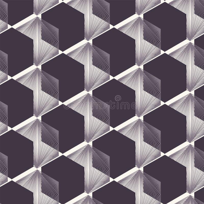 E Формы лоскутного одеяла Linocut шестиугольные Повторение геометрической предпосылки плитки Monochrome поверхностная ткань дизай иллюстрация вектора