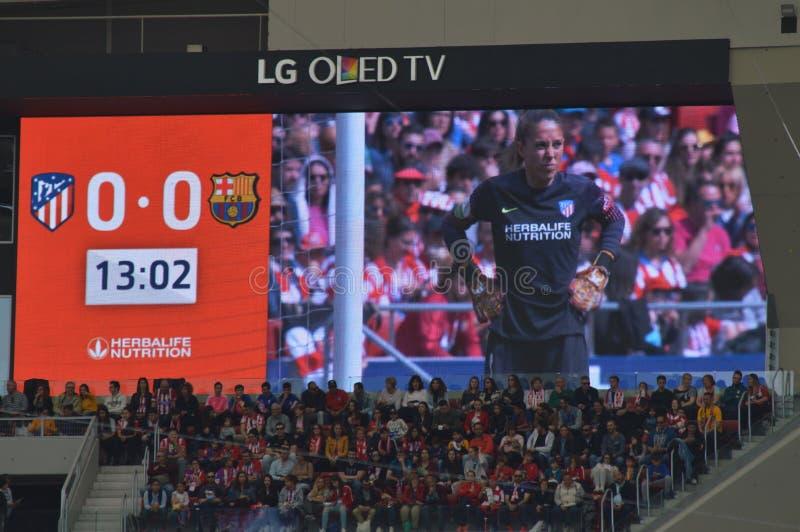 E Футбол женщин Atletico De Мадрид против клуба Барселоны Futbol Помощь мирового рекорда историческая публики к a стоковые изображения rf