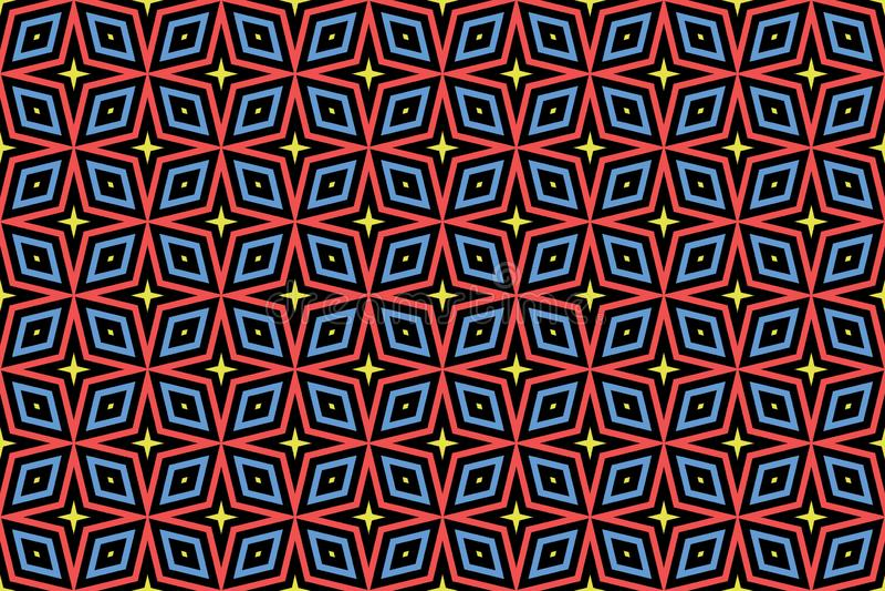 E Черная предпосылка, форменные звезды и диаманты в желтых, красных и голубых цветах иллюстрация вектора