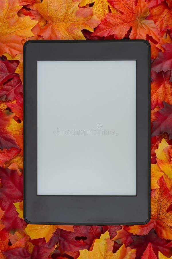 E-читатель на листьях падения для вашего чтения осени стоковое изображение