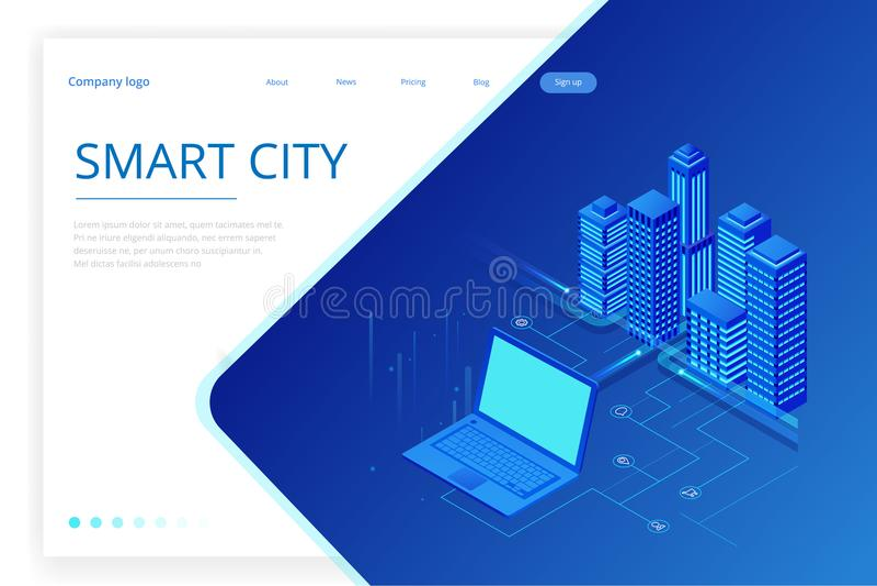 E Шаблон вебсайта концепции Умный город с умными обслуживаниями и значками, интернетом вещей, сетей иллюстрация вектора
