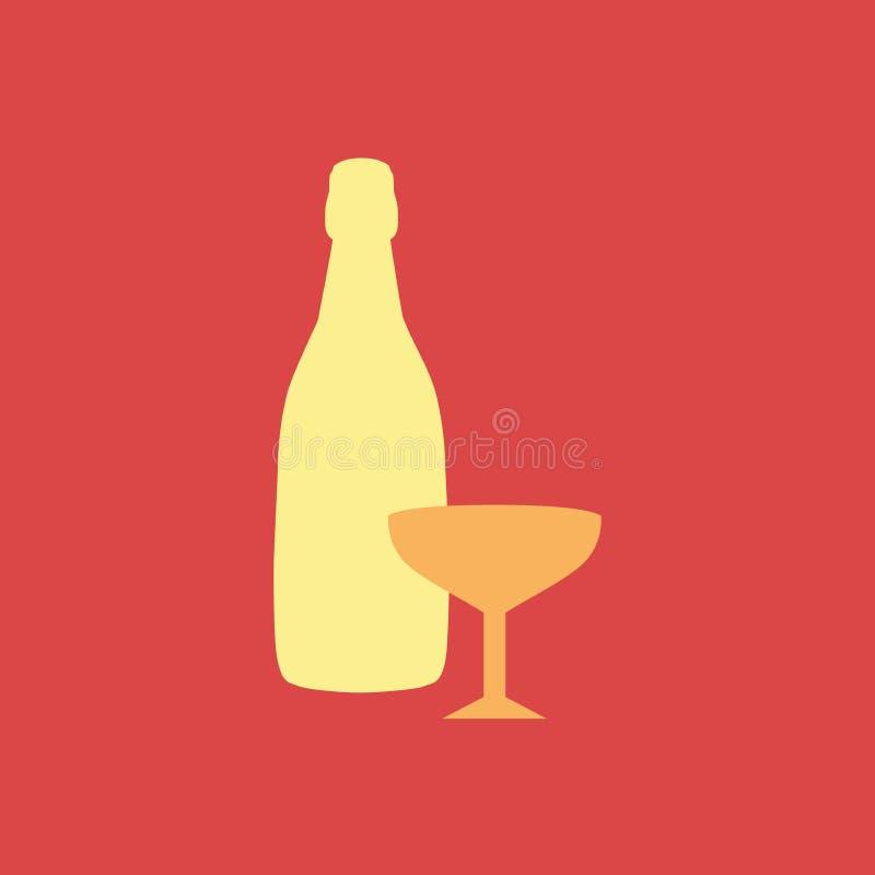 E Шампанское значка силуэта иллюстрация вектора