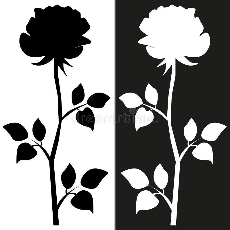 E Эскиз мотива цветка для дизайна Черный силуэт розы с листьями иллюстрация штока