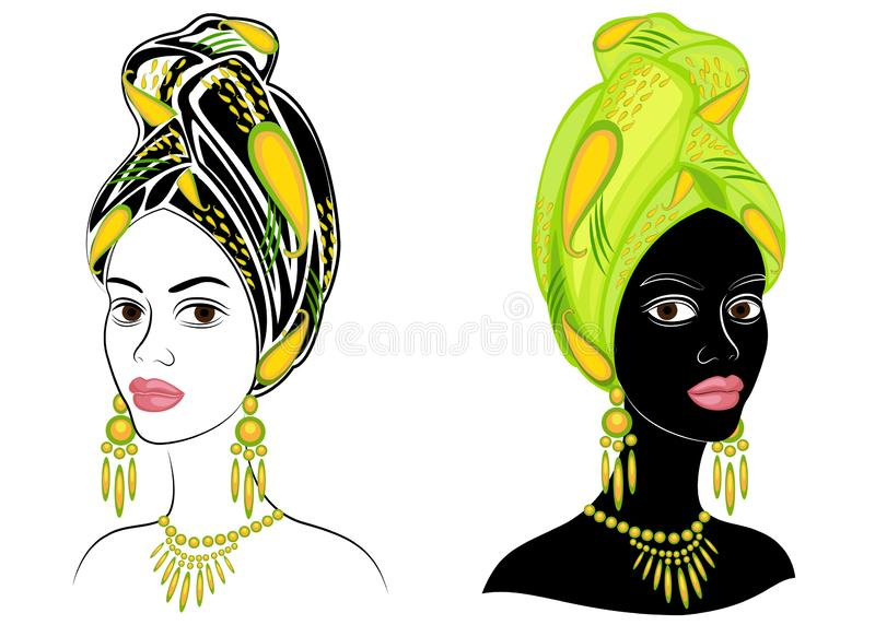 ?? E 一件明亮的披肩,头巾在一个非裔美国人的女孩的头被栓 ?treadled 皇族释放例证