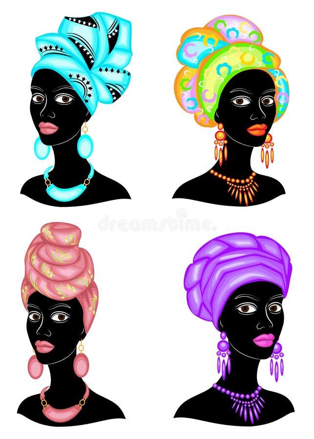 ?? E 一件明亮的披肩,头巾在一个非裔美国人的女孩的头被栓 ?treadled 库存例证