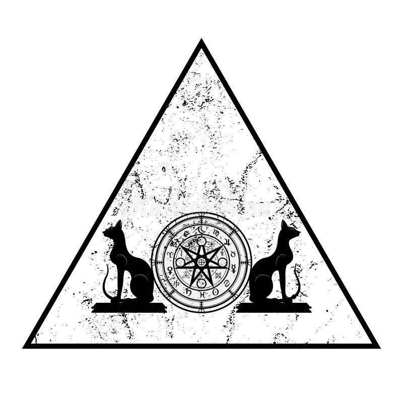 E 三角坛场巫婆诗歌和恶意嘘声,神秘的威卡教占卜 古老隐密标志难看的东西 向量例证