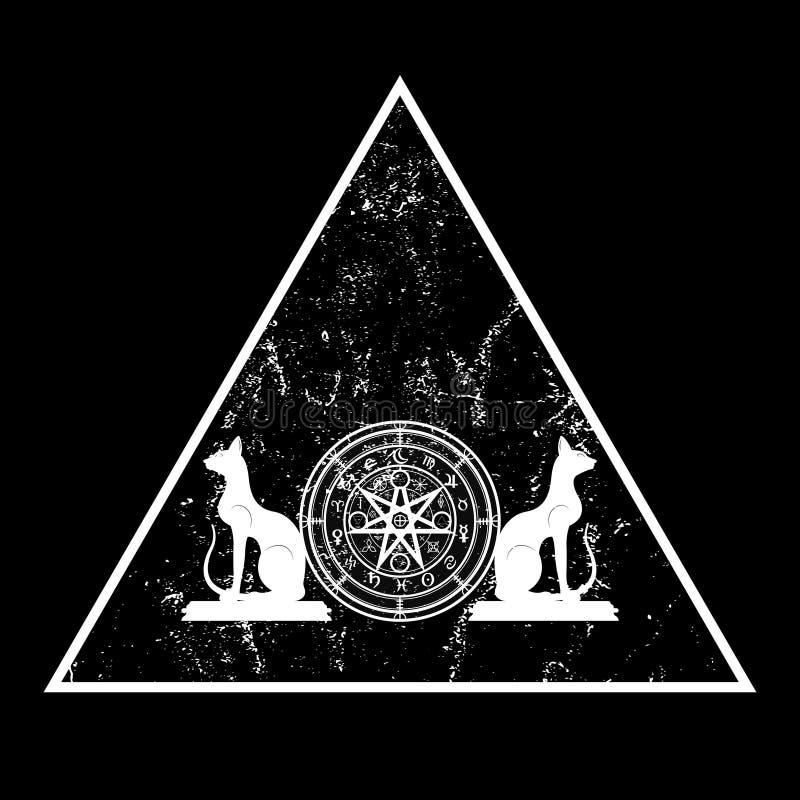 E 三角坛场巫婆诗歌和恶意嘘声,神秘的威卡教占卜 古老隐密标志,地球 皇族释放例证