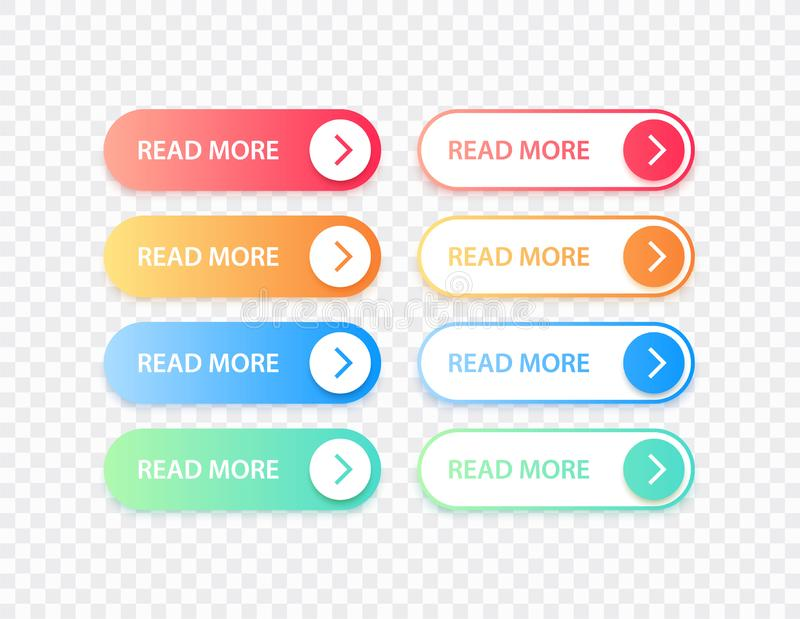 E 不同的梯度五颜六色的按钮集合 ?? r 皇族释放例证