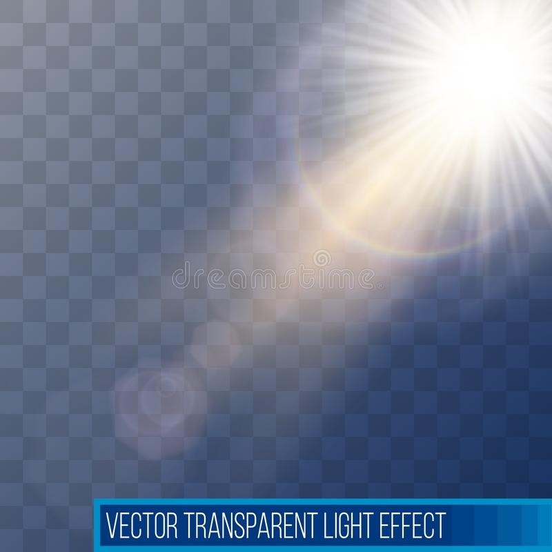 E 与光芒的太阳在透明背景隔绝的闪光和聚光灯 库存例证