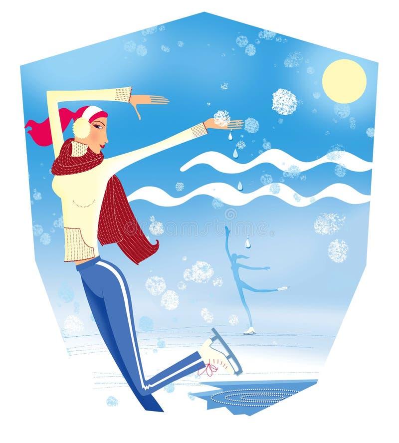 E 与冰孔和月亮的冬天风景 一只黄色毛线衣和一条红色围巾冰鞋的一个女孩 库存例证