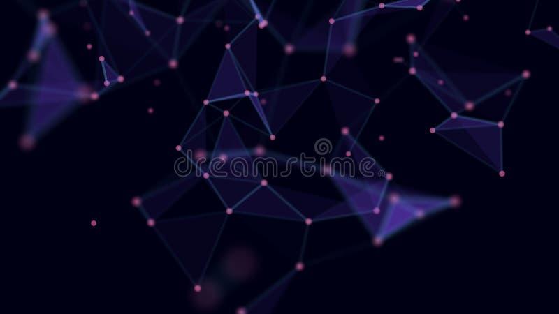 E 与点和线的网络连接 Ai技术导线网络未来派wireframe 库存例证
