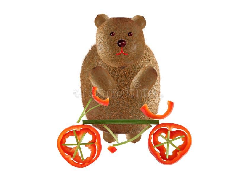 E 与由水果和蔬菜做的自行车的滑稽的小的动物 库存图片