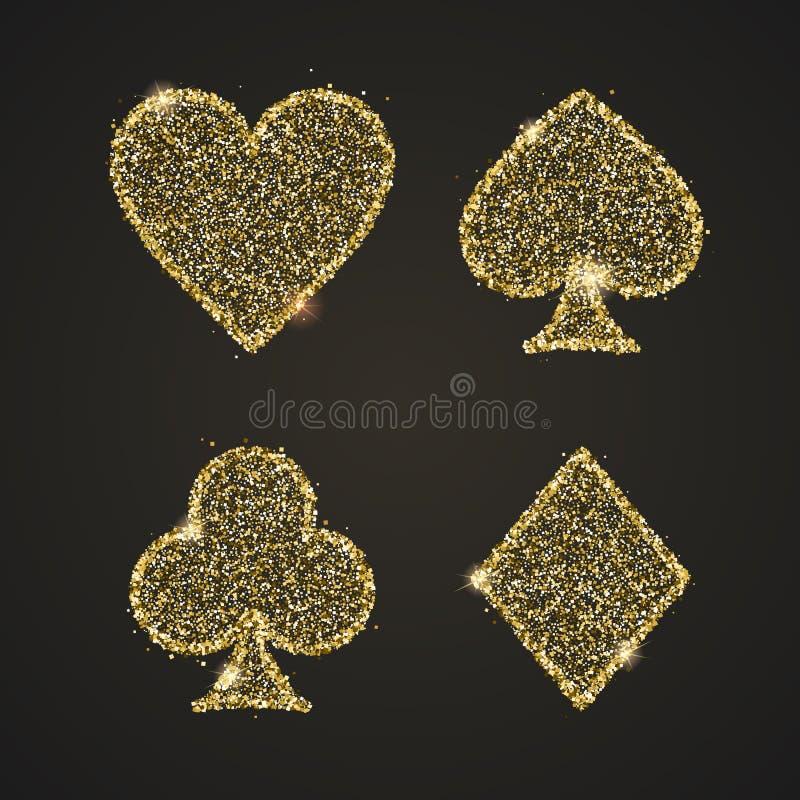 E 与金黄闪烁,发光的尘土传染媒介象的例证 赌博娱乐场的概念 皇族释放例证
