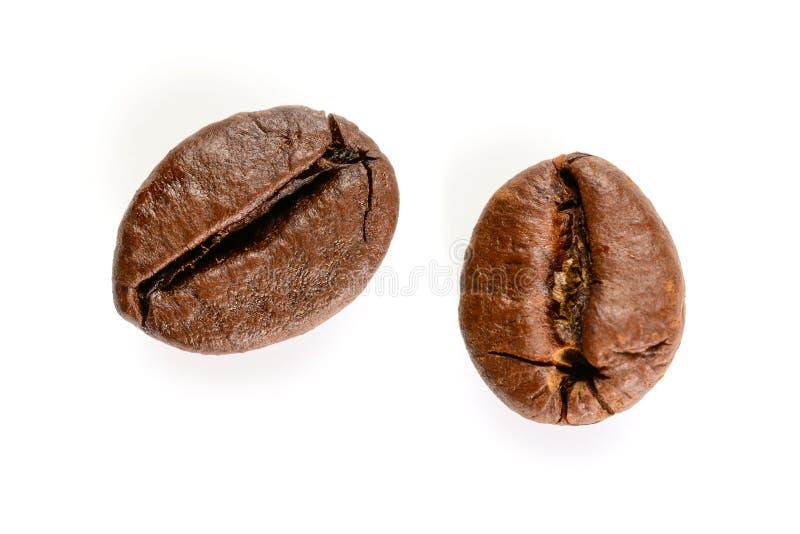 E 两烤咖啡豆宏观视图,关闭,隔绝在白色背景 免版税库存图片