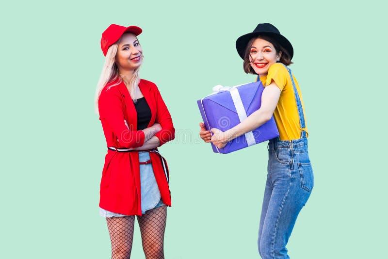 E 两美丽的愉快的时兴的行家,拥抱大紫罗兰色箱子礼物的愉快的女孩画象  免版税库存图片