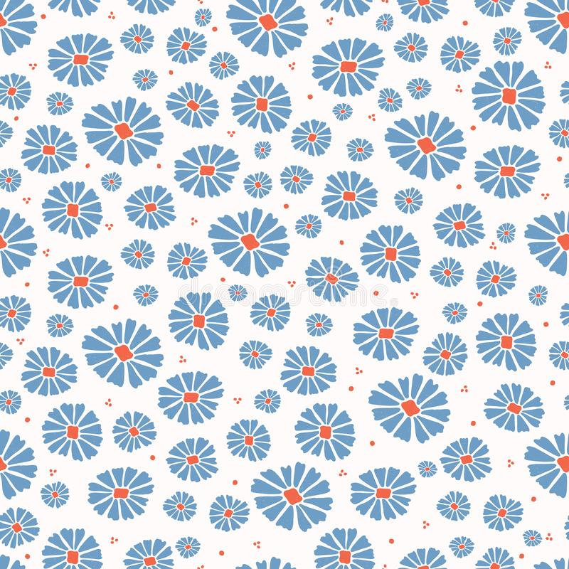 E 五颜六色的绽放无缝的重复的样式 向量例证