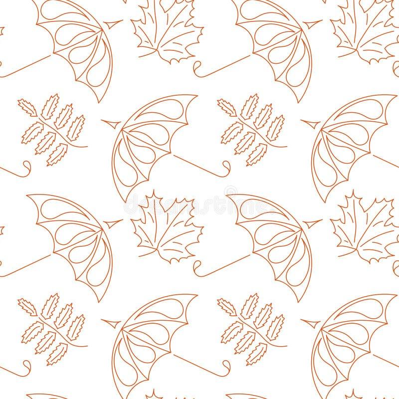 E 伞和落的秋叶花揪和槭树 免版税库存照片