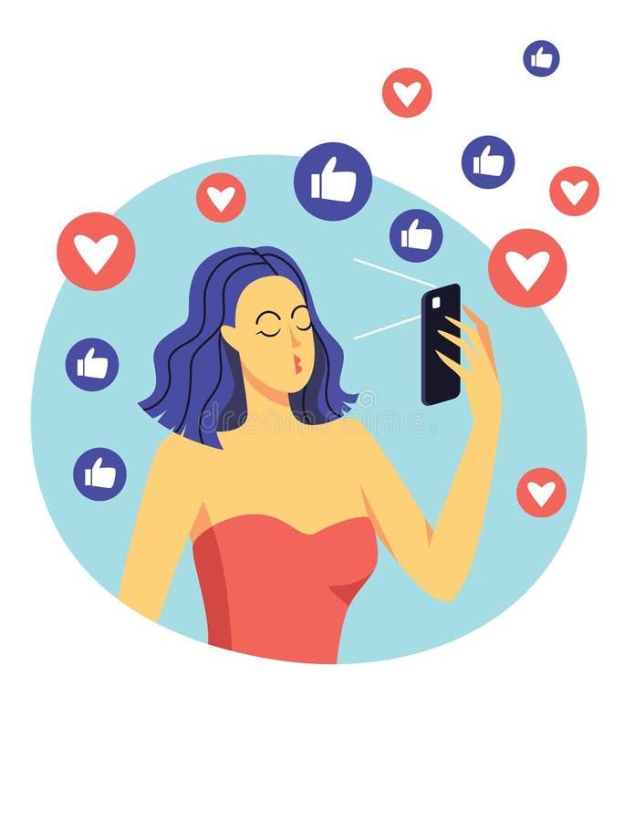 E 使用一个手机,女孩做selfie 摆在为照片的美丽的现代女孩 方式 向量例证