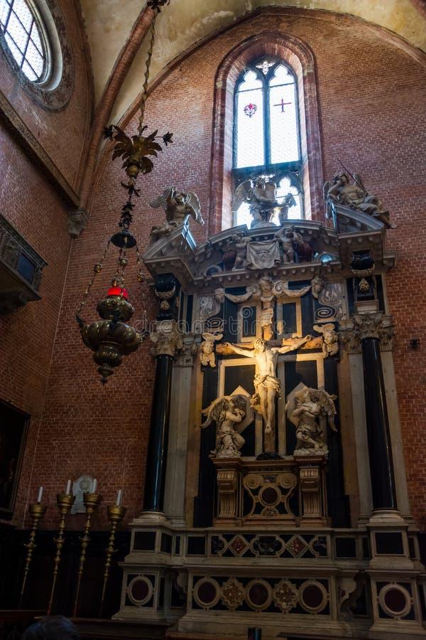 ?? 2019?6? E 内部,耶稣图的片段大教堂二圣玛丽亚Gloriosa dei的 免版税库存照片