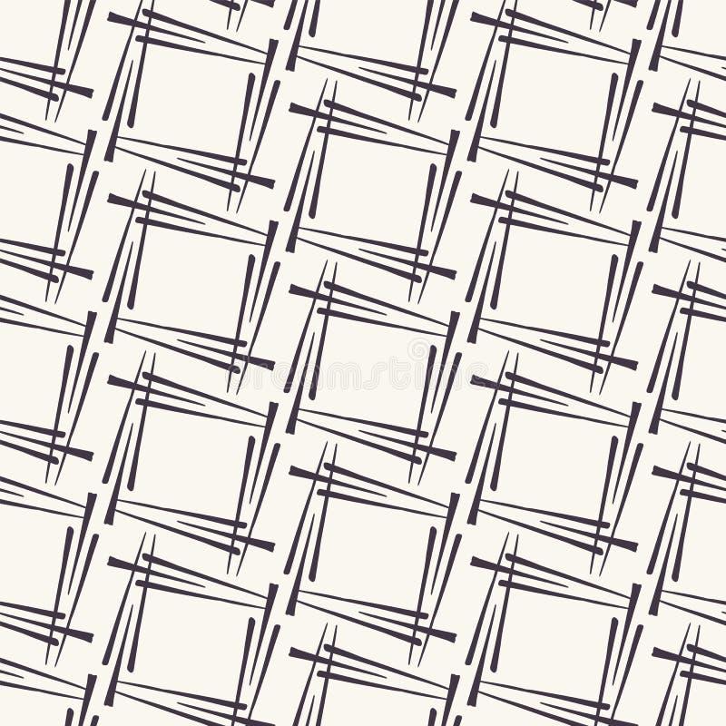 E 几何正方形构造形状 重复geo瓦片背景 单色表面设计纺织品样片 向量例证