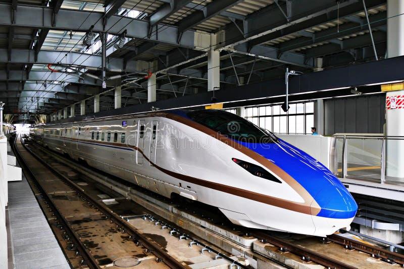E7系列shinkansen高速高速火车 图库摄影