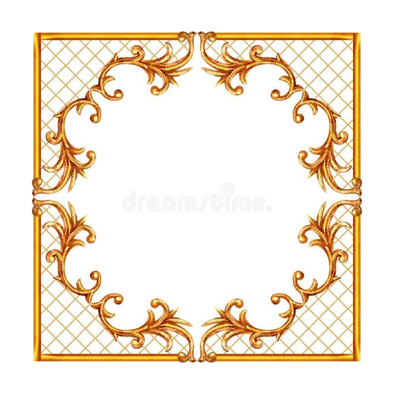 巴洛克式的样式元素 刻记花卉纸卷金银细丝工的设计框架的水彩手拉的葡萄酒 皇族释放例证