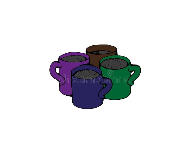 E 咖啡饮料传染媒介标志股票网例证 向量例证