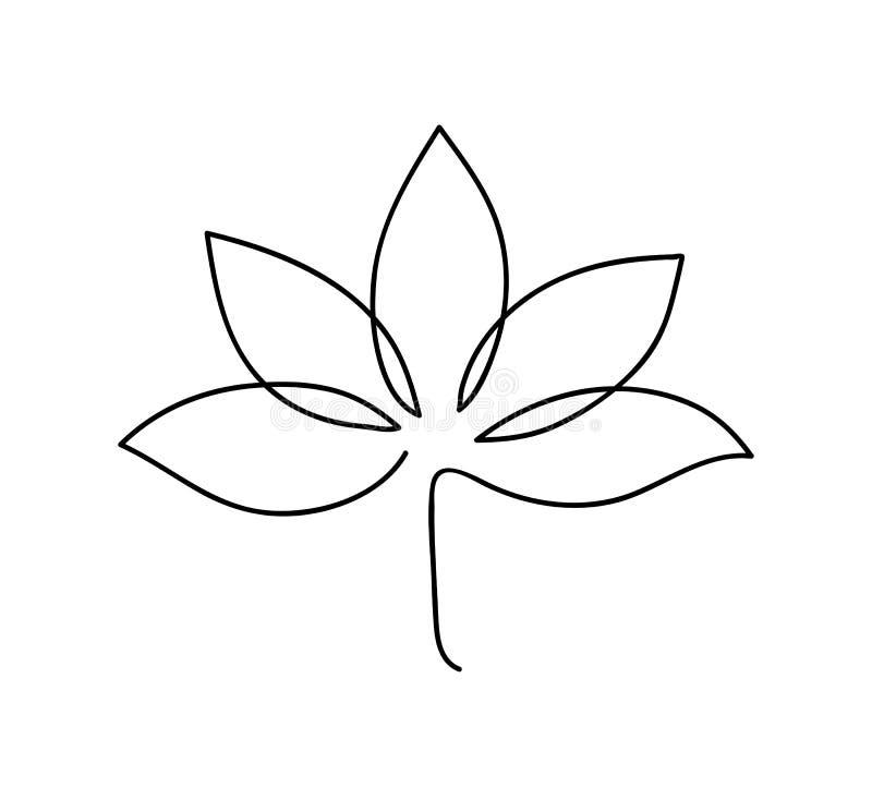 E 商标莲花的概述例证 黑白手拉的线艺术样式 皇族释放例证