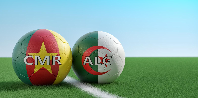 E 喀麦隆足球比赛-在阿尔及利亚和喀麦隆全国颜色的足球在足球场 向量例证
