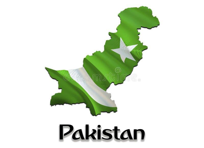 E 回报巴基斯坦地图和旗子在亚洲地图的3D 巴基斯坦的国家标志 在亚洲的伊斯兰堡旗子 库存例证