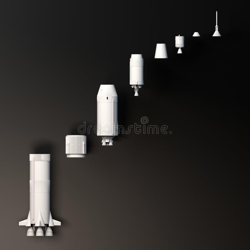 E 土星v 月亮火箭 r 库存例证