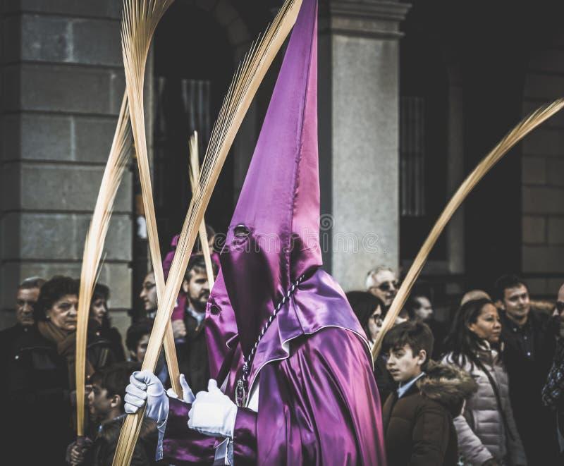 E 圣周在萨莫拉,西班牙复活节星期是耶稣基督激情的每年记念  免版税库存图片