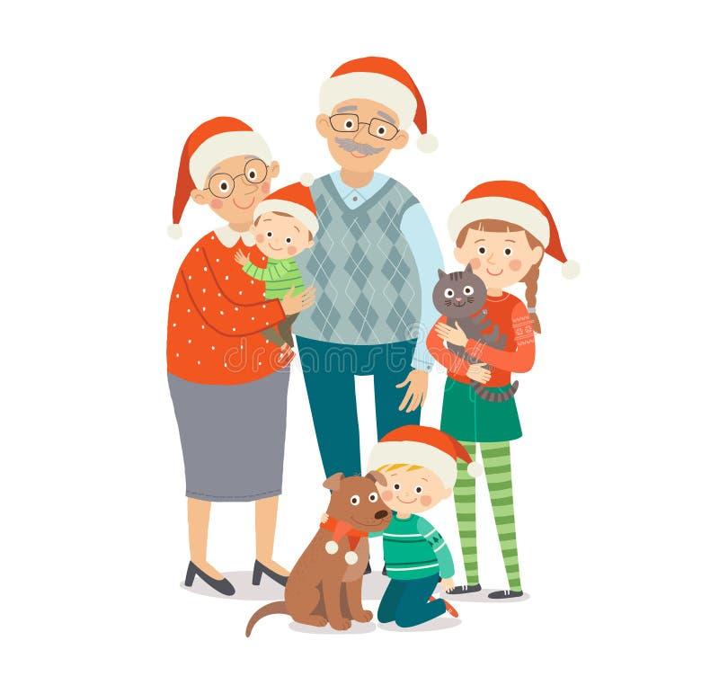 E 圣诞节家庭画象 动画片传染媒介 库存例证